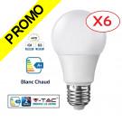 Lot de 6 Ampoules LED V-TAC Culot E27 7W (éq. 45W) 470lm angle 200° lumière blanc chaud