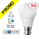 Lot de 6 Ampoules LED V-TAC Culot B22 12W (éq. 75W) 1055lm angle 200° lumière blanc neutre 4500K