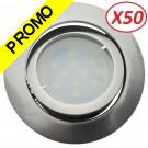 Lot de 50 Spot Led Encastrable Complete Satin Orientable lumière Blanc Chaud eq. 50W ref.209