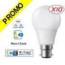 Lot de 10 Ampoules LED V-TAC Culot B22 12W (éq. 75W) 1055lm angle 200° lumière blanc chaud 3000K
