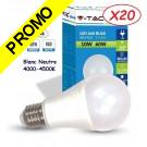 Lot de 20 Ampoules LED V-TAC Culot E27 10W (éq. 60W) 806lm angle 200° lumière blanc neutre