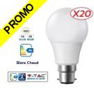 Lot de 20 Ampoules LED V-TAC Culot B22 12W (éq. 75W) 1055lm angle 200° lumière blanc chaud 3000K