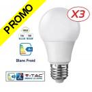 Lot de 3 Ampoules LED V-TAC Culot E27 12W (éq.75W) 1055lm angle 200° lumière blanc froid