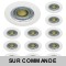 LOT DE 12 SPOT ENCASTRABLE FIXE LED 230V BLANC AVEC AMPOULE GU10 38° 5W eq.ENV 50W