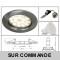 LOT DE 50 SPOT LED ENCASTRABLE COMPLETE RONDE FIXE ALU BROSSE eq. 50W BLANC CHAUD 3000K