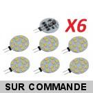 Lot de 6 Ampoules G4 à 12 Leds SMD 5730 Blanc Froid AC/DC 10-30V