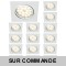 LOT DE 15 SPOT ENCASTRABLE ORIENTABLE CARRE LED SMD GU10 230V BLANC RENDU ENVIRON 50W HALOGENE