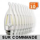 Lot de 10 Ampoules Led Flamme Coup de Vent Filament 4 watt (éq. 42 Watt) Culot B22 à baïonnette