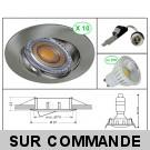 LOT DE 10 SPOT LED RONDE ALU BROSSE 230V COB LED 5W RENDU 50W BLANC CHAUD