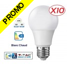 Lot de 10 Ampoules LED V-TAC Culot E27 7W (éq. 45W) 470lm angle 200° lumière blanc chaud