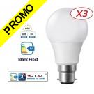 Lot de 3 Ampoules LED V-TAC Culot B22 10W (éq. 60W) 806lm angle 200° lumière blanc froid 6000K