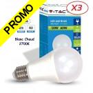 Lot de 3 Ampoules LED V-TAC Culot E27 10W (éq. 60W) 806lm angle 200° lumière blanc chaud 2700K
