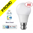 Lot de 6 Ampoules LED V-TAC Culot B22 12W (éq. 75W) 1055lm angle 200° lumière blanc chaud 3000K