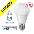 Lot de 10 Ampoules LED V-TAC Culot E27 12W (éq.75W) 1055lm angle 200° lumière blanc chaud