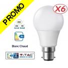 Lot de 6 Ampoules LED V-TAC Culot B22 10W (éq. 60W) 806lm angle 200° lumière blanc chaud 3000K