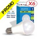 Lot de 6 Ampoules LED V-TAC Culot E27 10W (éq. 60W) 806lm angle 200° lumière blanc neutre