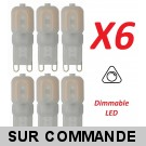 Lot de 6 Ampoules led G9 2 watt (eq. 20watt) 2700K Blanc Chaud Compatible Variateurs