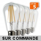 Lot de 5 Ampoules Led Filament ST64 Style Edison Teardrop 7 watt (eq.52 watt) Culot E27