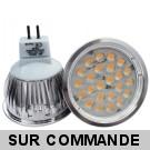 Lot de 10 Ampoules MR16 à 24 LEDs SMD Blanc Lumière du Jour - Eclaire Comme 50W Halogène, Diffusion 60° 12V AC/DC