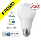 Lot de 20 Ampoules LED V-TAC Culot E27 7W (éq. 45W) 470lm angle 200° lumière Blanc Froid 6400K