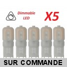 Lot de 5 Ampoules led G9 2 watt (eq. 20watt) 2700K Blanc Chaud Compatible Variateurs