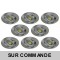LOT DE 8 SPOT LED RONDE ALU BROSSE 230V 5W RENDU 50W BLANC NEUTRE
