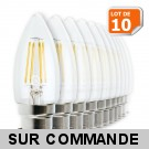 Lot de 10 Ampoules Led Flamme Filament 4 watt (éq. 42 Watt) Culot B22 à baïonnette