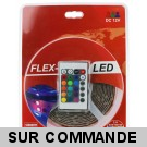 Kit RUBAN LED RGB 5M Complete. Transformateur + cable d'alimentation + controleur + ruban LED de 5 mètres