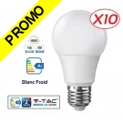 Lot de 10 Ampoules LED V-TAC Culot E27 12W (éq.75W) 1055lm angle 200° lumière blanc froid