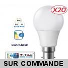 Lot de 20 Ampoules LED V-TAC Culot B22 10W (éq. 60W) 806lm angle 200° lumière blanc chaud 3000K