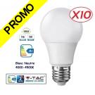 Lot de 10 Ampoules LED V-TAC Culot E27 12W (éq.75W) 1055lm angle 200° lumière blanc neutre