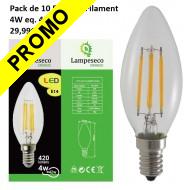 Lot de 10 Ampoules Flamme Filament 4w eq. 42W Culot E14 blanc chaud 3000K