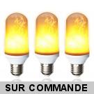 Pack de 3 Ampoules LED flamme effet feu scintillement culot E27 ref 915