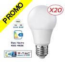 Lot de 20 Ampoules LED V-TAC Culot E27 12W (éq.75W) 1055lm angle 200° lumière blanc neutre