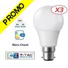 Lot de 3 Ampoules LED V-TAC Culot B22 10W (éq. 60W) 806lm angle 200° lumière blanc chaud 3000K