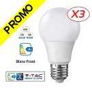 Lot de 3 Ampoules LED V-TAC Culot E27 7W (éq. 45W) 470lm angle 200° lumière Blanc Froid 6400K