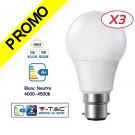 Lot de 3 Ampoules LED V-TAC Culot B22 12W (éq. 75W) 1055lm angle 200° lumière blanc neutre 4500K