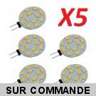 Lot de 5 Ampoules G4 à 12 Leds SMD 5730 Blanc Chaud AC/DC 10-30V