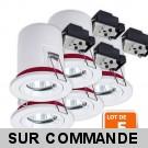 Lot de 5 Support de spot BBC Orientable diametre 100mm avec douille GU10 et ampoule led 5w blanc chaud ref. 802