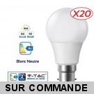 Lot de 20 Ampoules LED V-TAC Culot B22 10W (éq. 60W) 806lm angle 200° lumière blanc neutre 4500K