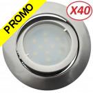 Lot de 40 Spot Led Encastrable Complete Satin Orientable lumière Blanc Chaud eq. 50W ref.209