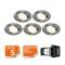 LOT DE 5 SPOT LED ENCASTRABLE COMPLETE ORIENTABLE ALU BROSSE AVEC AMPOULE GU10 230V 5W, BLANC NEUTRE