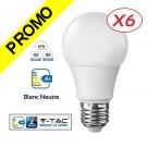 Lot de 6 Ampoules LED V-TAC Culot E27 7W (éq. 45W) 470lm angle 200° lumière blanc neutre
