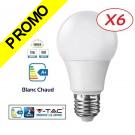 Lot de 6 Ampoules LED V-TAC Culot E27 12W (éq.75W) 1055lm angle 200° lumière blanc chaud