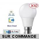 Lot de 10 Ampoules LED V-TAC Culot B22 10W (éq. 60W) 806lm angle 200° lumière blanc chaud 3000K