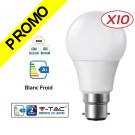 Lot de 10 Ampoules LED V-TAC Culot B22 10W (éq. 60W) 806lm angle 200° lumière blanc froid 6000K