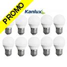 Pack de 10 Ampoules LED Ronde E27 5,0W 3000K Blanc Chaud Marque KANLUX