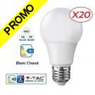 Lot de 20 Ampoules LED V-TAC Culot E27 12W (éq.75W) 1055lm angle 200° lumière blanc chaud