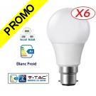 Lot de 6 Ampoules LED V-TAC Culot B22 10W (éq. 60W) 806lm angle 200° lumière blanc froid 6000K