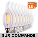 Lot de 10 Ampoules Led Flamme Coup de Vent Filament 4 watt (équivalent 42 Watt) Culot E14 à visser blanc chaud